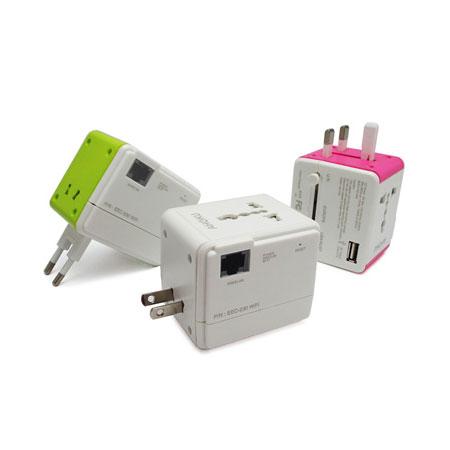 어댑터 및 USB 충전 포트가 있는 여행용 WiFi 라우터