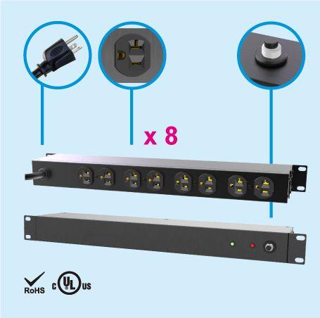 "(8) NEMA 5-20 1U 19"" Rack Mount Power Strip - 20A PDU"