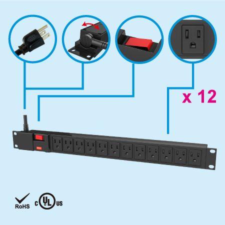 USA Canada 12 Outlet PDU 19in Rack Surge NEMA 15A UL / cUL - ظرف NEMA 5-15