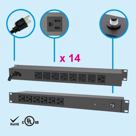 (14) NEMA 5-15 1U Rack Power Manager - Rear side, 8 x 5-15R outlets