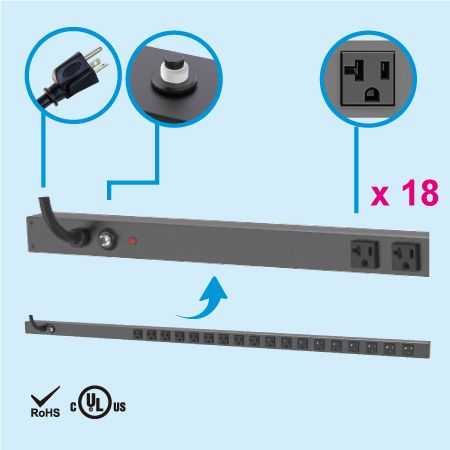 18 NEMA 5-20 0U Vertical Metered PDU Power Strip - 18 x 5-20R outlets PDU and 5-20P