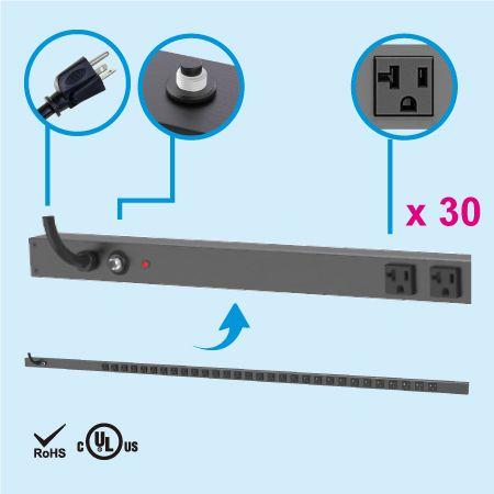 30 NEMA 5-20 0U Vertical Rack Mount Power Strip - 30 x 5-20R outlets PDU and 5-20P
