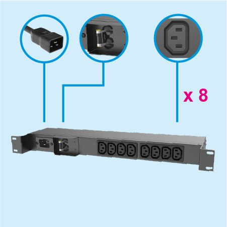 8 Outlets IEC320 C13 1U Metal PDU 20A Wall Mount - IEC PDU