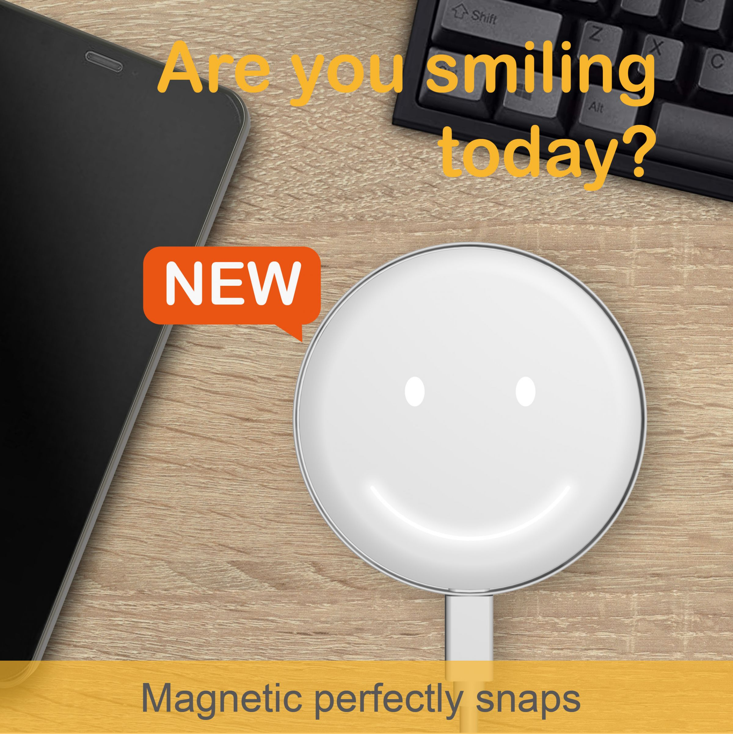 Smiley Wireless Charger - PD/QC Ultra-Slim wireless charger