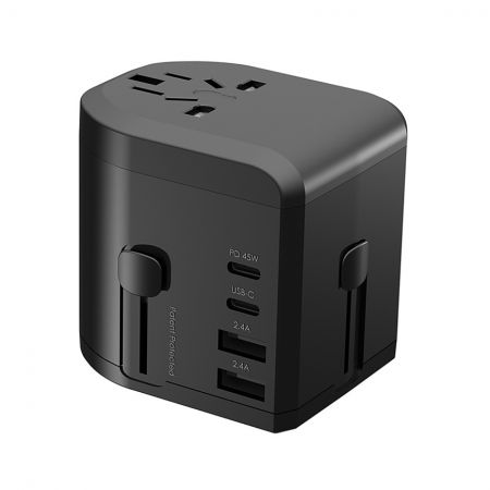 4 Ports 45W PD & QC Charger with US/UK/EU/AU Universal Adapter - 4 Ports 45W PD & QC Charger with US/UK/EU/AU Travel Adapter
