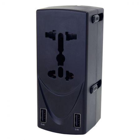 Адаптер для путешествий по всему миру с двумя розетками и зарядным устройством на 2 USB