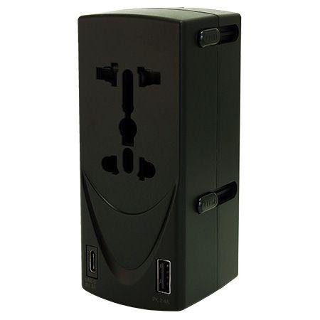 デュアルソケットインターナショナルタイプCデュアルUSBトラベルアダプター - USB-C充電器付きデュアルソケットインターナショナルユニバーサルトラベルアダプター。
