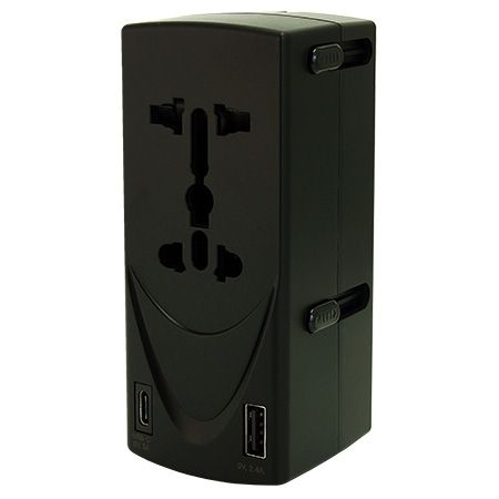 듀얼 소켓 인터내셔널 타입 C 듀얼 USB 여행용 어댑터