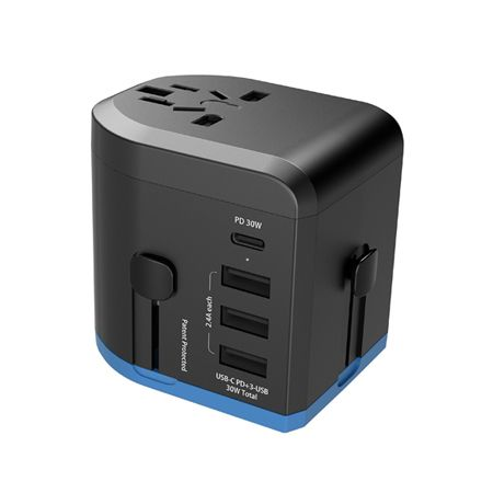 30W PD & QC 全球通用旅行充电器 - 具有4孔USB充电器的30W PD&QC全球旅行适配器。