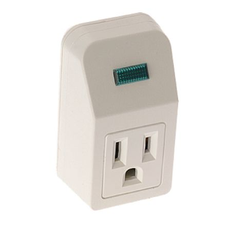 Single-Outlet Portable Design Grounded Wall Tap - Single Outlet Power Strip