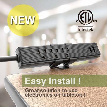 3 콘센트 데스크 클램프 전원 스트립(2.4A USB 충전 포함) - 데스크탑 전원 스트립