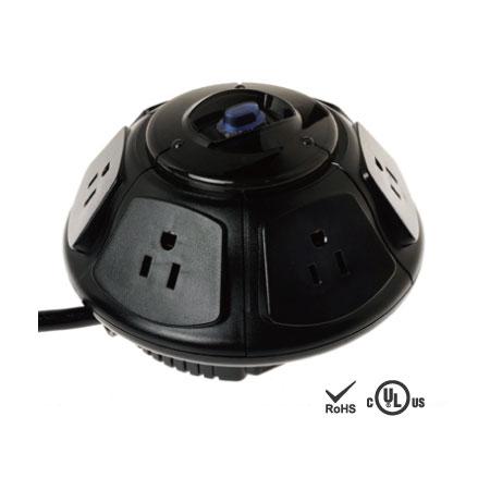 옵션 전화선 및 동축 케이블 보호 기능이 있는 6개의 넓은 공간 콘센트 - NEMA 5-15 리셉터클