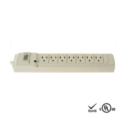 7 Outlets Power Bar Surge Protector with On/Off Switch - NEMA 5-15 Receptacle