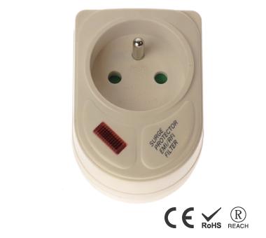 표시등이있는 프랑스 단일 콘센트 접지 벽 탭 - 안전 셔터가 있는 프랑스 콘센트