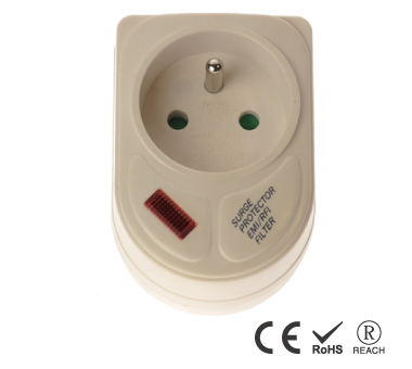 France Single Outlet Grounded Wall Tap with Indicator Light - France Receptacle with Safety Shutters
