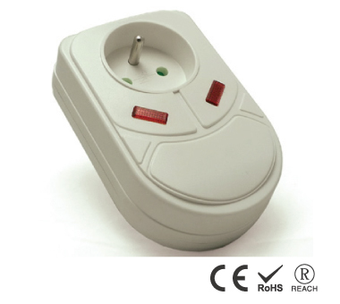 Tomacorriente francés enchufable directo con protección para teléfono y cable coaxial - Salida única
