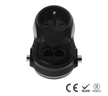 Single Grounded Outlet Wall Tap - France Receptacle with Safety Shutters