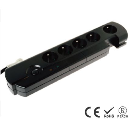 5-Outlet Power Strip Surge Protector with Cord Management - France Receptacles with Safety Shutters