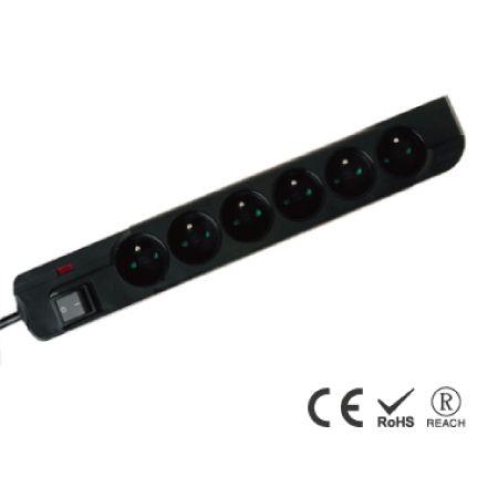 6孔电源插座带电视/电话保护 - 法式防误入安全插孔