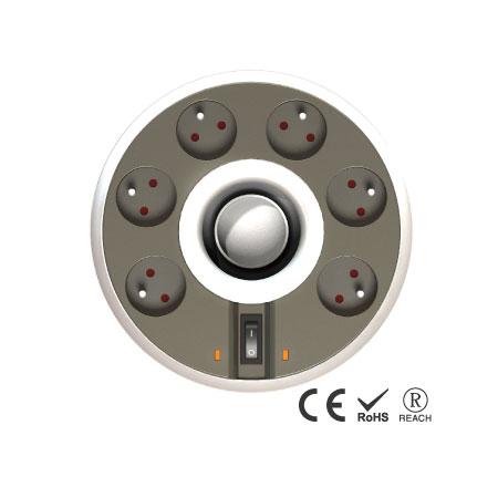 6孔插座電線可伸縮收納 - 翹板電源開關