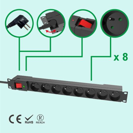 France 8 Outlets PUD 1U Plastic housing W/Circuit Breaker Switch - 8 Outlets PDU with Surge Protection