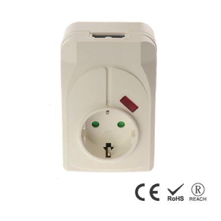 Wandmontage-Überspannungsschutz mit Einzelsteckdose und Schutzanzeigeleuchte - Schuko-Steckdose mit Sicherheitsverschluss
