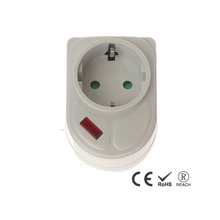 Single Outlet Space Saving Electrical Plug Adapter - Schuko Receptacle