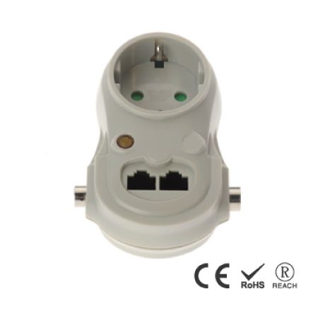 Single Power Outlet Heavy Duty Adapter Wall Plug - Schuko Receptacle with Safety Shutters