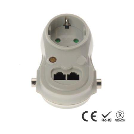 Enchufe de pared con adaptador de servicio pesado con toma de corriente única