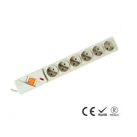 6 Schuko Outlet Power Board with Built in Surge Protector - Schuko Receptacles with Safety Shutters