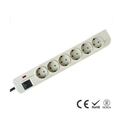 6 Socker Power Board surger 10A-250Vac German Extension power strip - Schuko Receptacles with Safety Shutters
