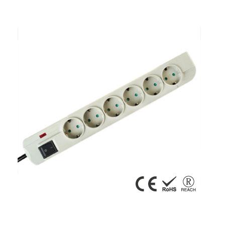 6-fach Überspannungsschutz-Steckdosenleiste mit Schlüsselloch-Montageschlitz - Schuko-Steckdosen mit Sicherheitsverschluss