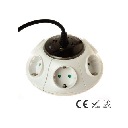 Multi-Outlet German 16A-250V Surge Extension Lead Power Strip - Schuko Receptacles with Safety Shutters