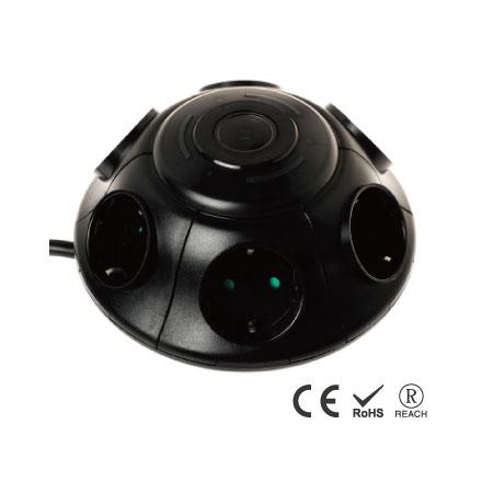 6 розеток переменного тока Настенный сетевой фильтр с кнопочным переключателем - Емкости Schuko с защитными ставнями