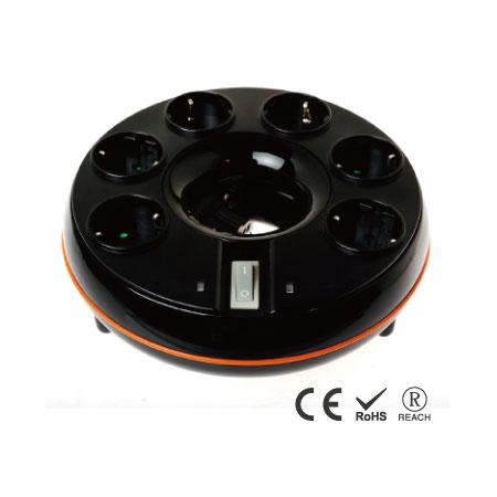 Desktop-Überspannungsschutz mit 6 Steckdosen und Kabelmanagement - Schuko-Steckdosen mit Sicherheitsverschluss
