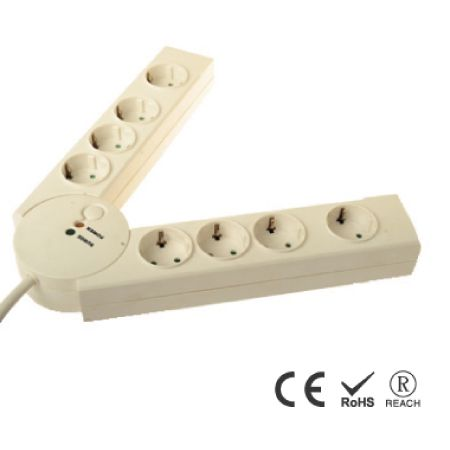 다중 보호 기능이 있는 8개의 Schuko 콘센트 접이식 전원 스트립 - 안전 셔터가 있는 Schuko 리셉터클