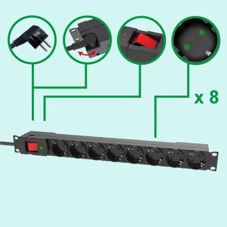 Alemania UE 8 tomacorrientes 1U montaje en rack regleta de alimentación PDU 16A / 250V GS - PDU de 8 salidas con protección contra sobretensiones