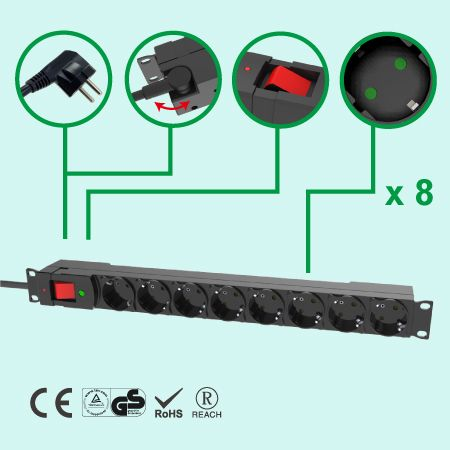 Germany GE EU 8 Outlet 16A/250V 1U Plastic Case PDU GS CE - 8 Outlets PDU with Surge Protection