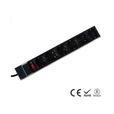 8 孔10A/250V義式插座 - 義/德混合式插孔