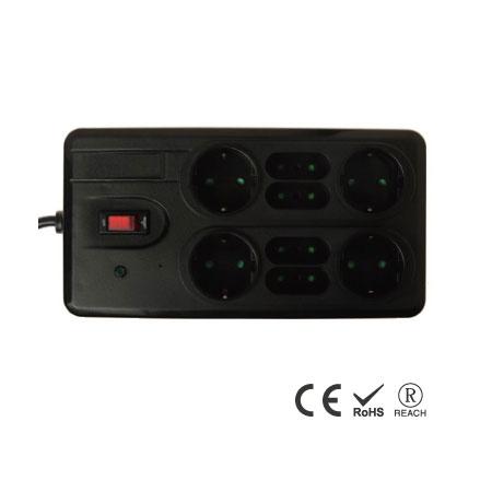 8 孔双排带电话/电视保护插座 - 义/德双插孔