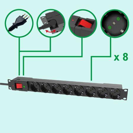 Ý Loại 8 ổ cắm Dải điện 19 inch 1U Dải điện PDU Surge - Giá đỡ của Ý với cửa chớp an toàn