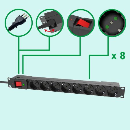 Italia Tipo 8 tomacorrientes Power Strip 19 pulgadas 1U Power Strip PDU Surge - Receptáculos italianos con persianas de seguridad
