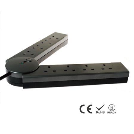 8 孔英式延長線插座帶電話電式保護 - 摺疊設計