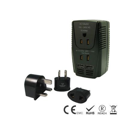 2000W International Voltage Converter/Adapter USB Kit