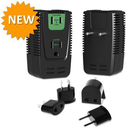 Smart 25/2000W Reisekonverter AI Hi-Low Schalter & Adapter Set - Smart Converter und Adapter