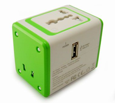 Universal Travel Adapter with USB Charger - Universal Travel Adapter Front Side & USB port