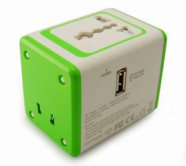 USB充電器付きユニバーサルトラベルアダプター - ユニバーサルトラベルアダプター前面&USBポート