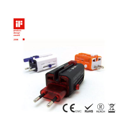 Kompakter Universal-Reiseadapter mit Multi-Nation-Steckern - Reise-Adapter