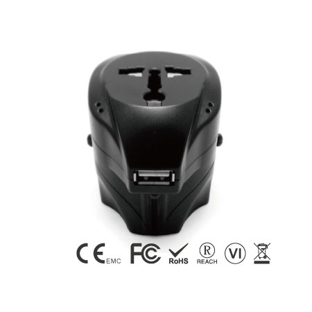 Universal Travel Adapter with USB Charger - Universal Travel Adapter Front Side