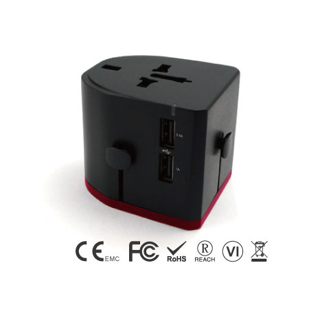 Universal Travel Adapter with Dual Ports USB Charger - EEC-152UD-34-USB-ports